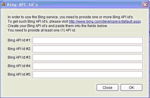 Bing API ID's